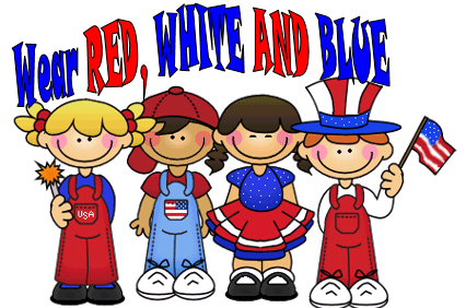 wear red, white and blue